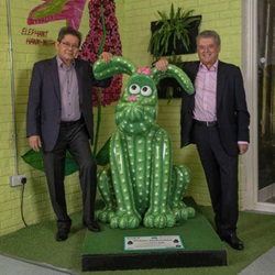 Liam Lee and Colin Skellett with the beloved Gromit, Pickles McPrickles